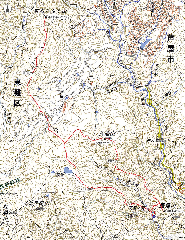 荒地山~東おたふく山地図