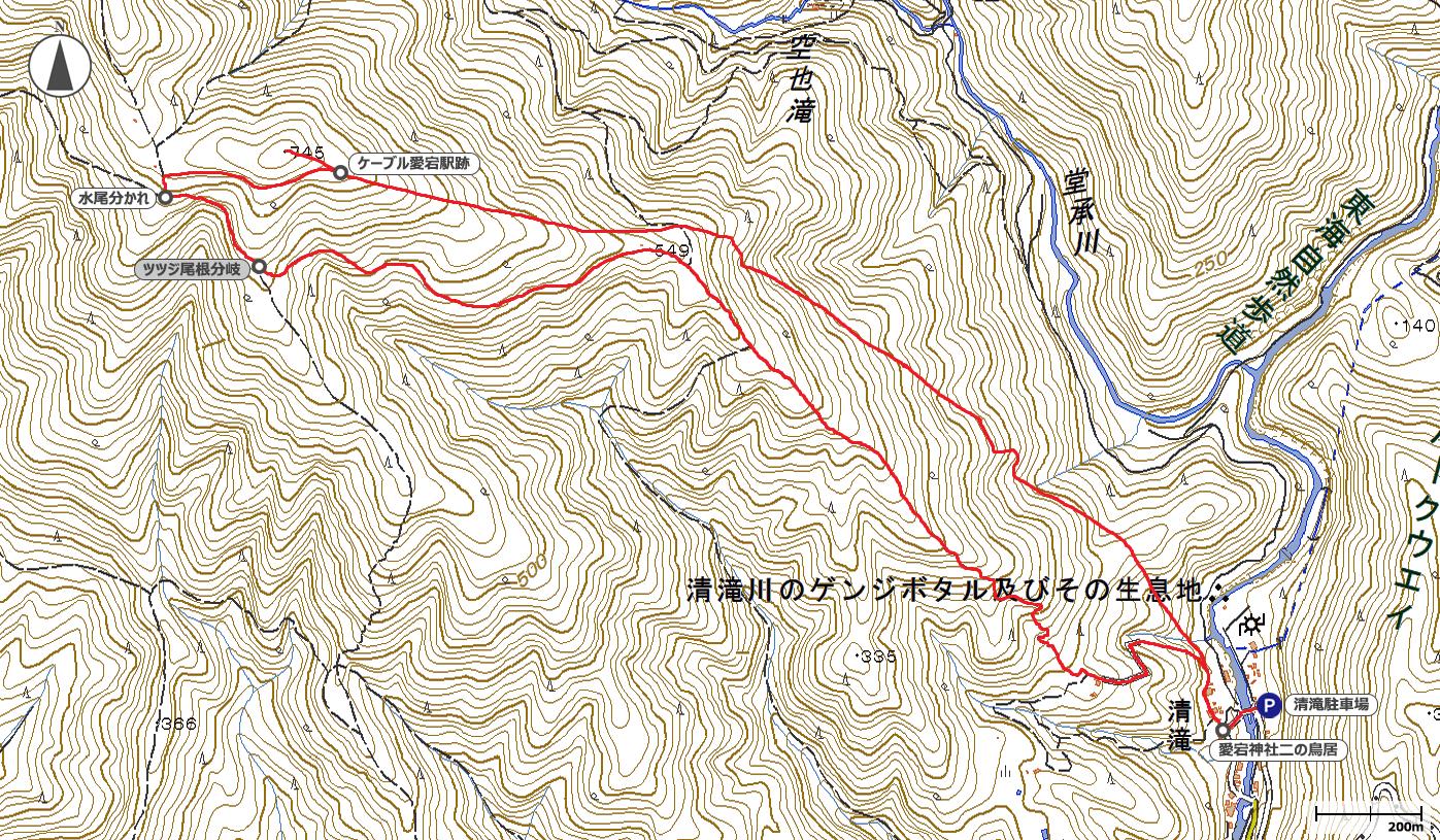愛宕山ケーブル廃線跡ルート地図