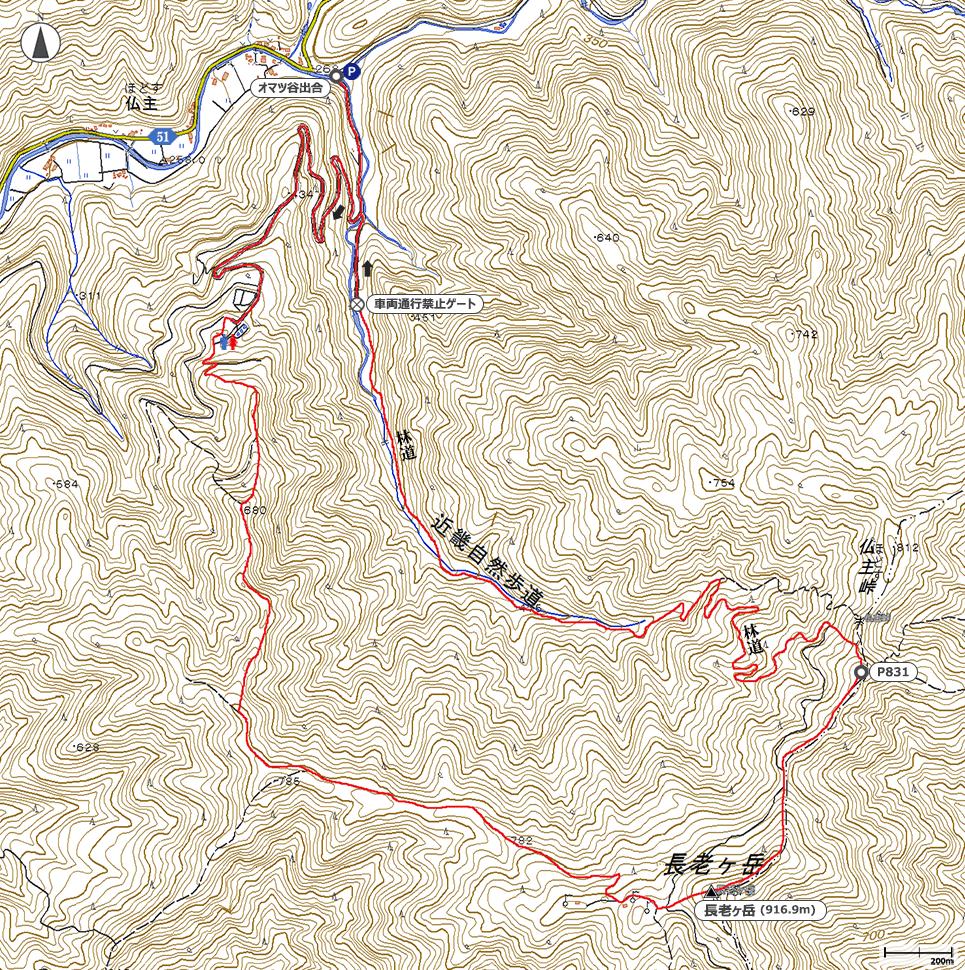 長老ヶ岳地図