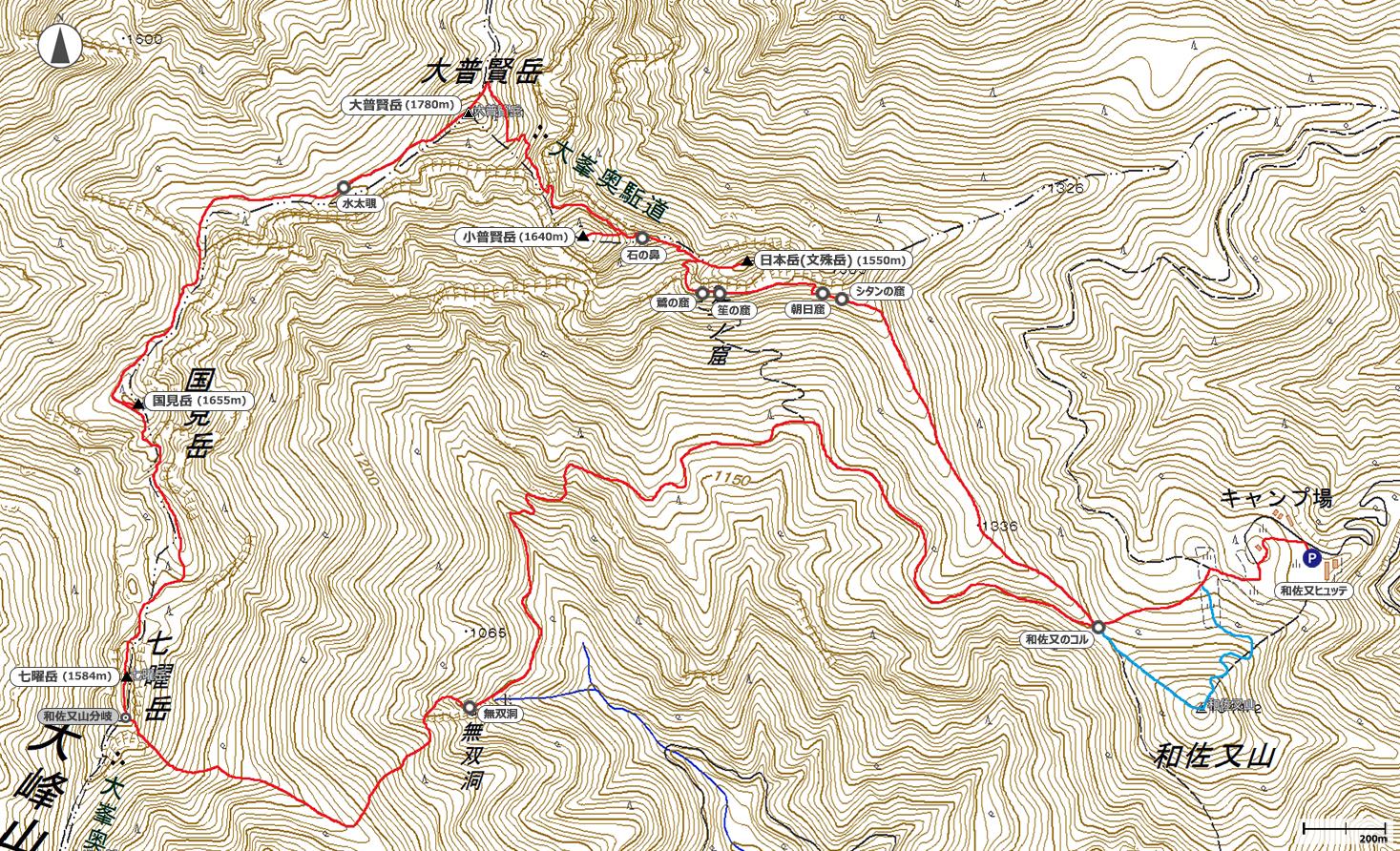 大普賢岳~七曜岳地図