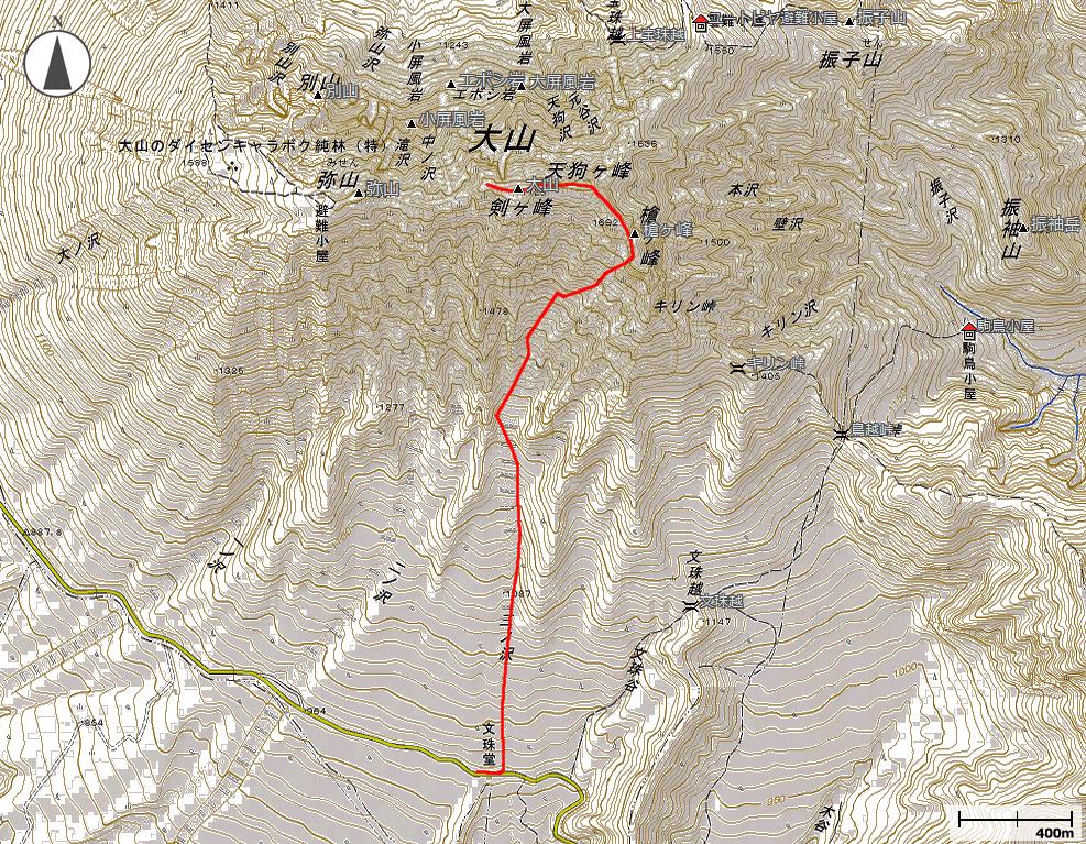大山・三の沢地図