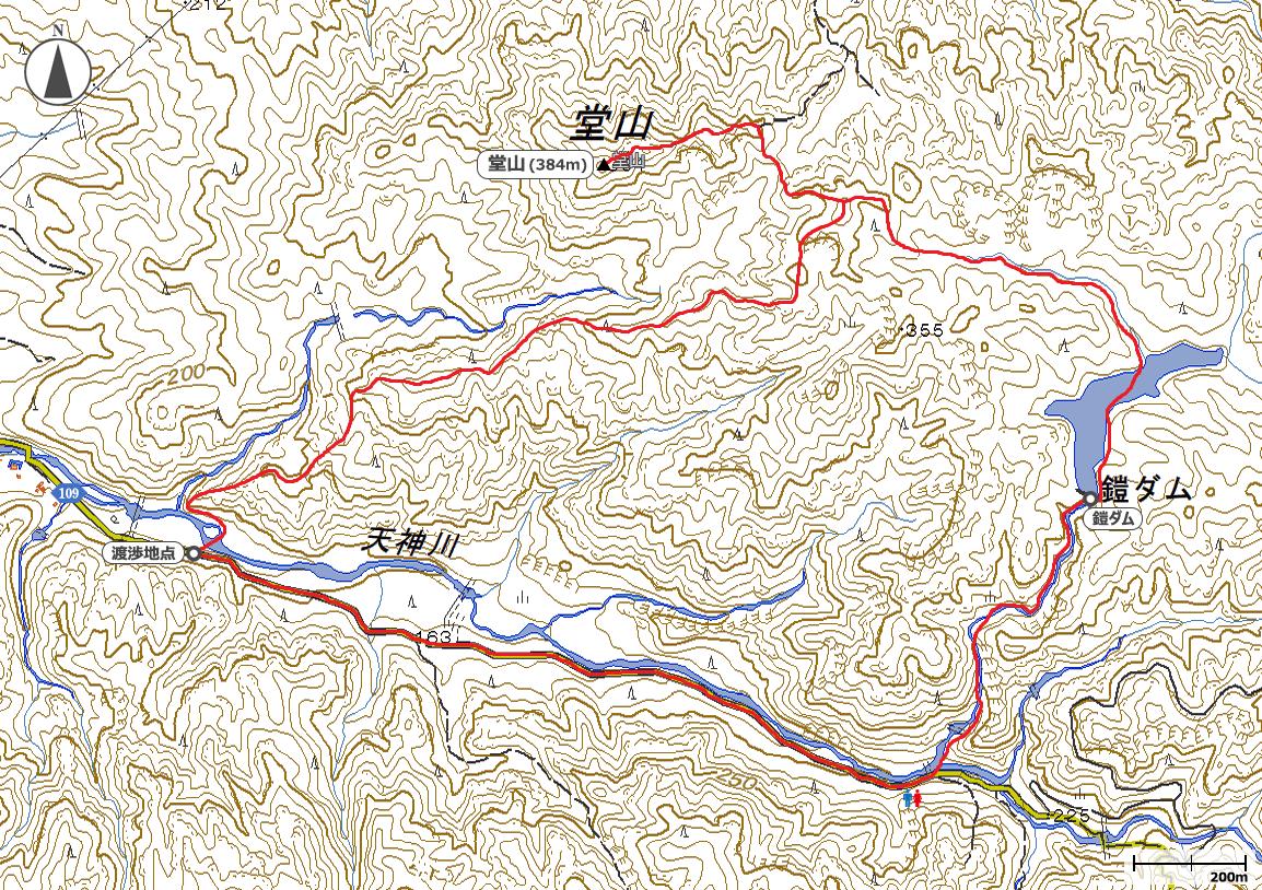 湖南アルプス・堂山地図