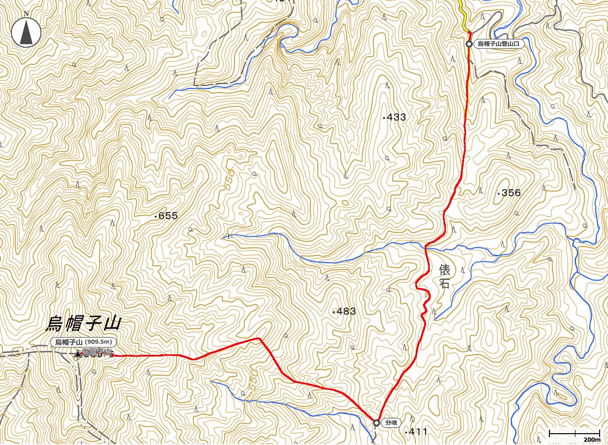 烏帽子山地図