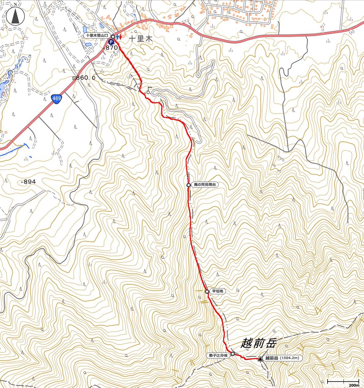 越前岳地図