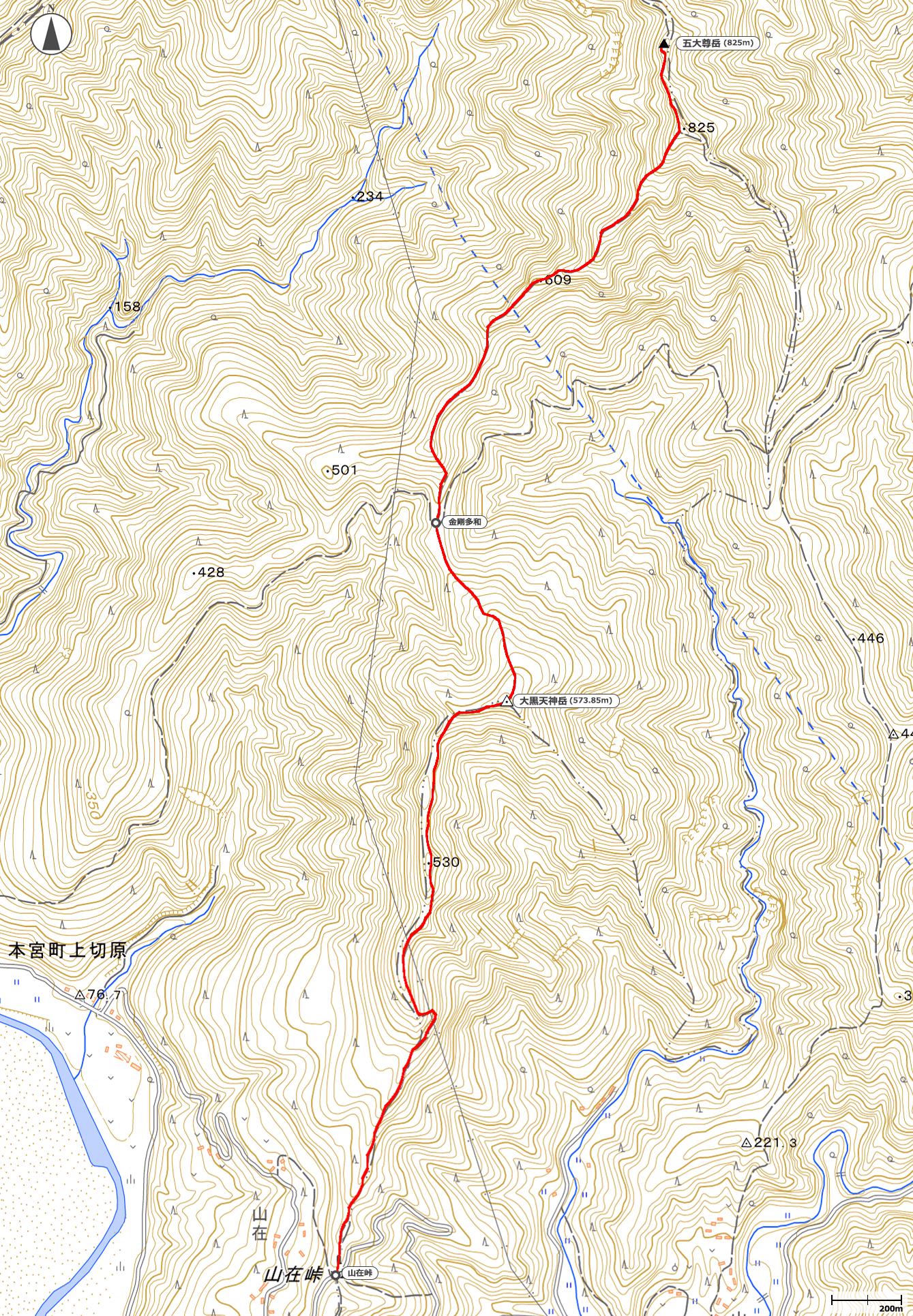 五大尊岳地図