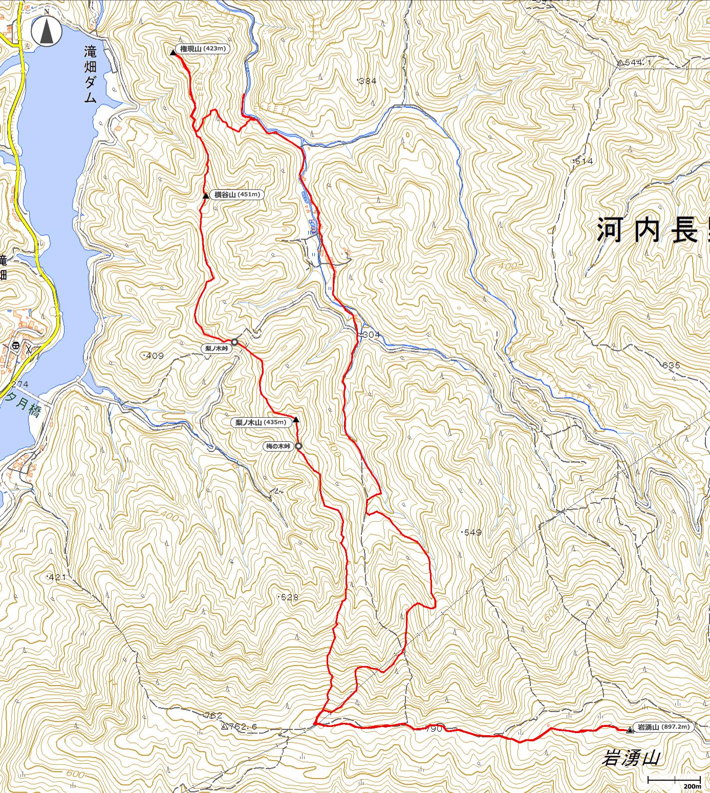 権現尾根~岩湧山地図