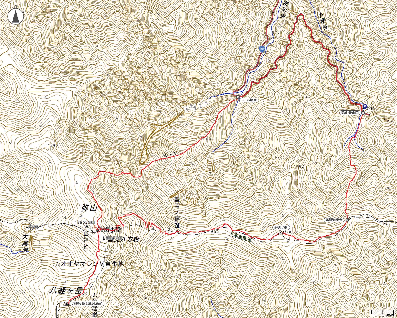 八経ヶ岳地図