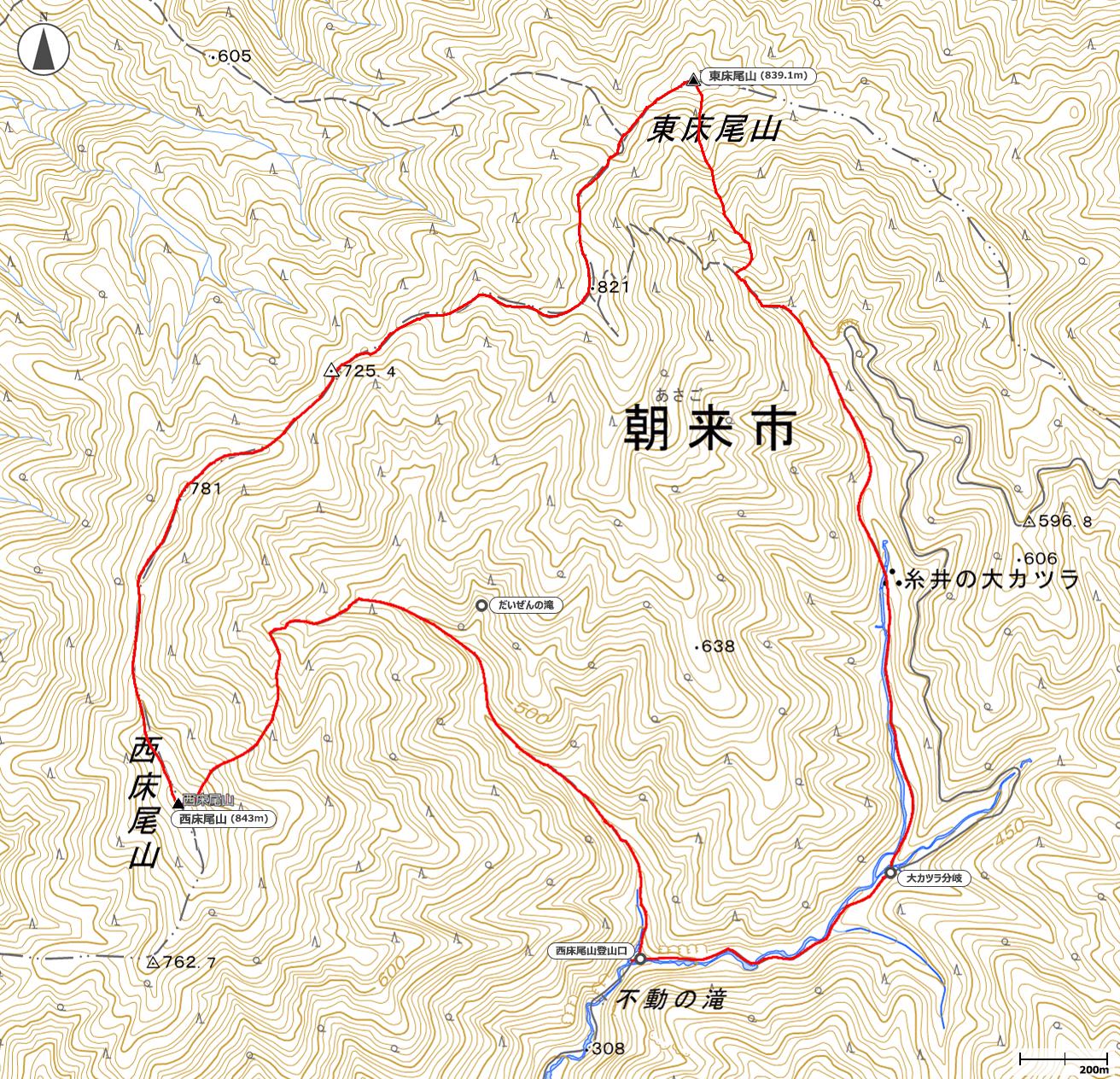 西床尾山~東床尾山地図
