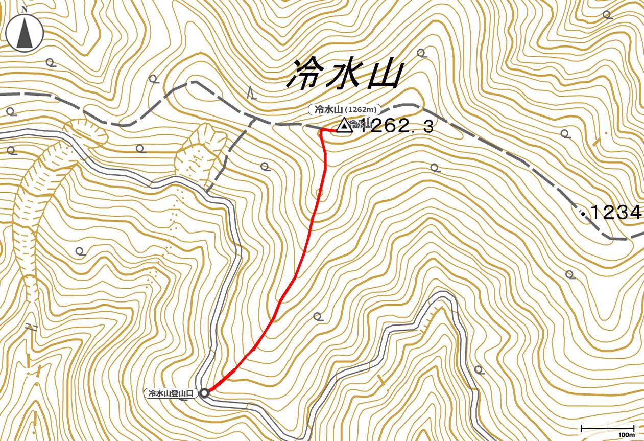 冷水山地図