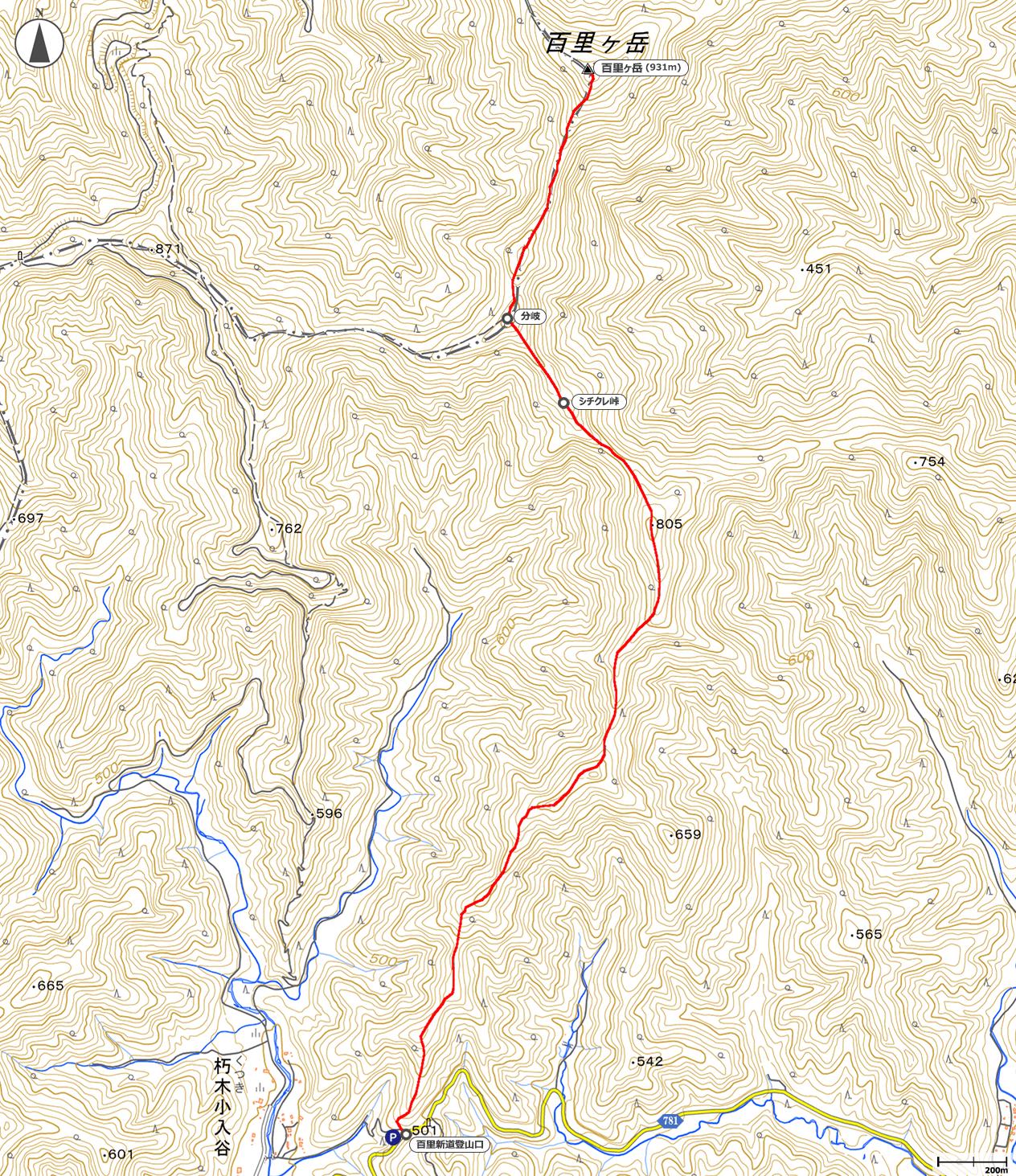 百里ヶ岳地図