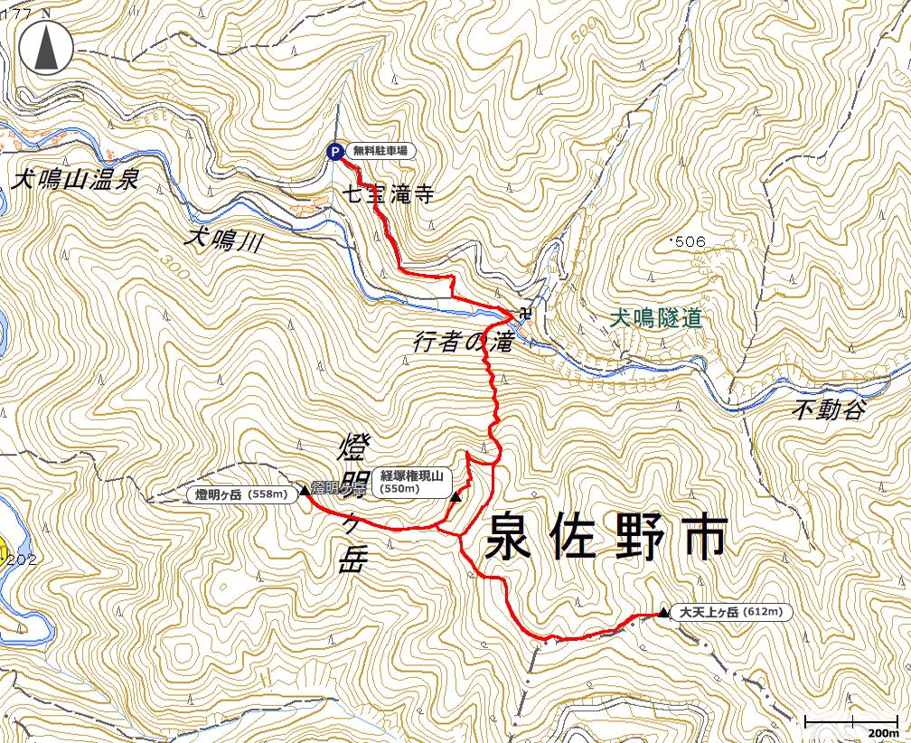 犬鳴山地図