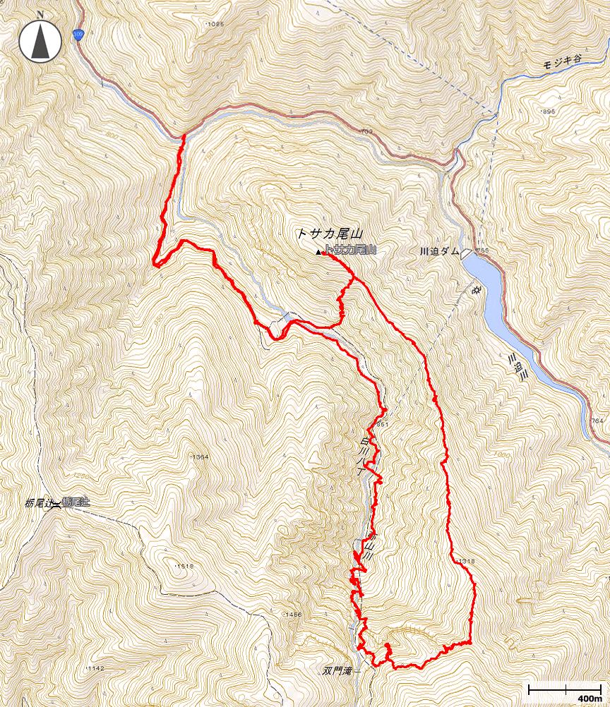 トサカ尾山~石の双門地図