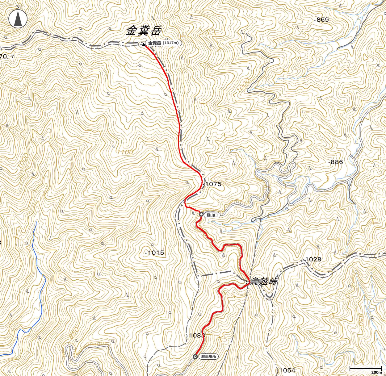 金糞岳地図