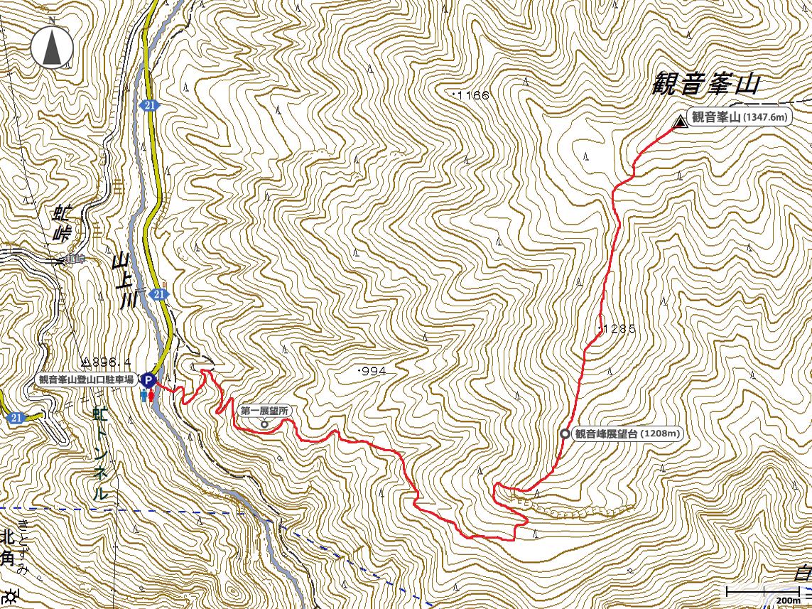観音峰山地図