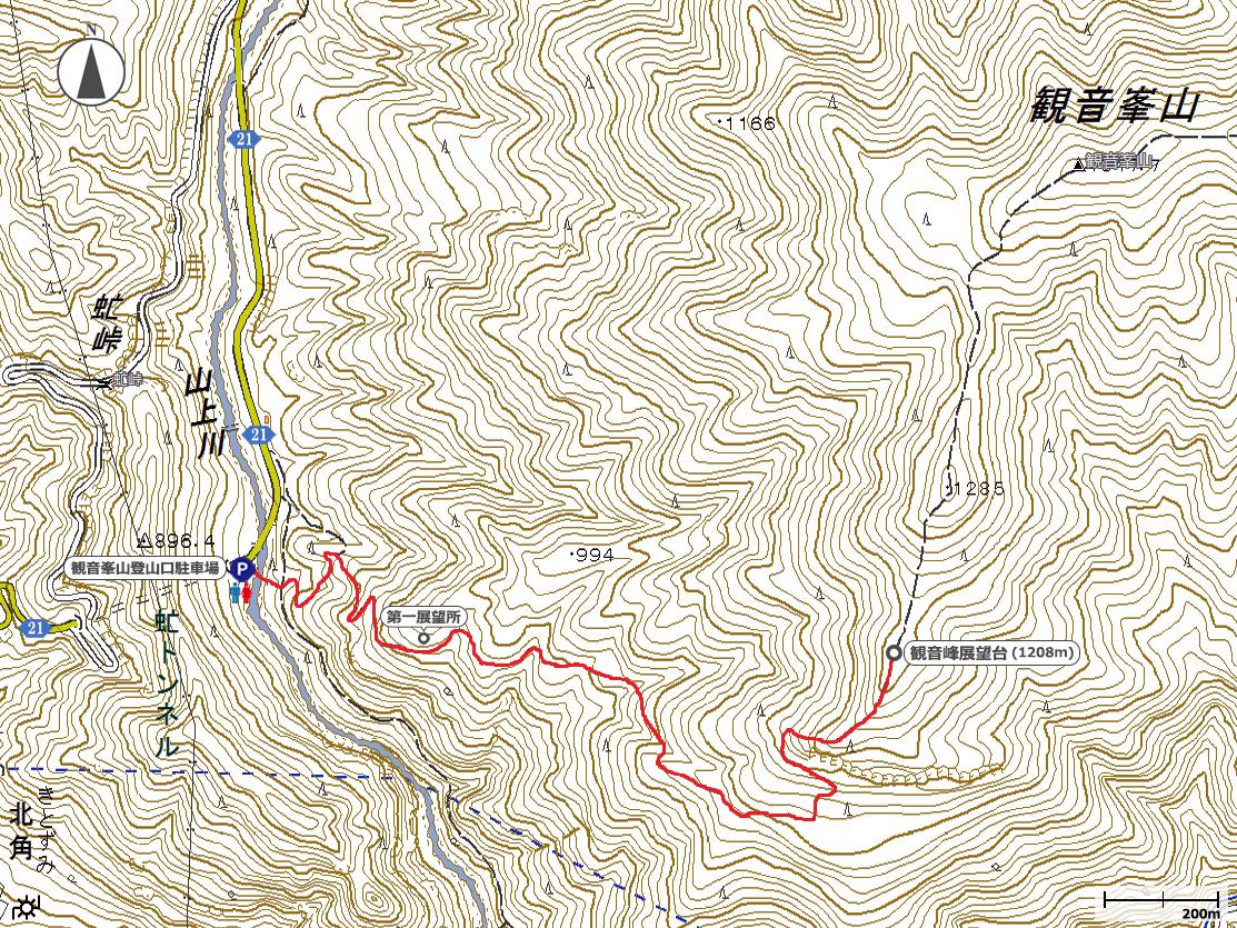 観音峰展望台地図