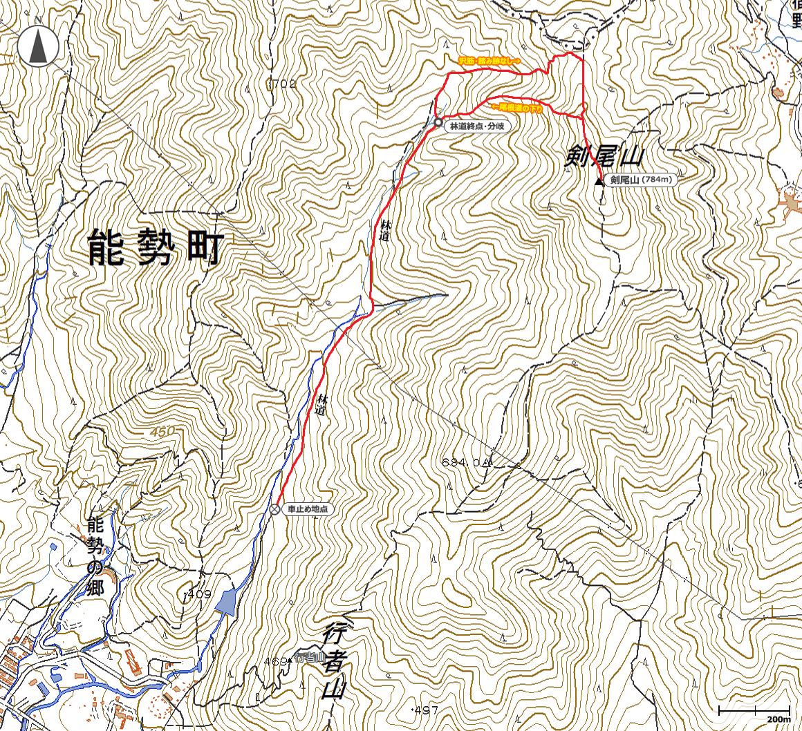 剣尾山(直登ルート)地図