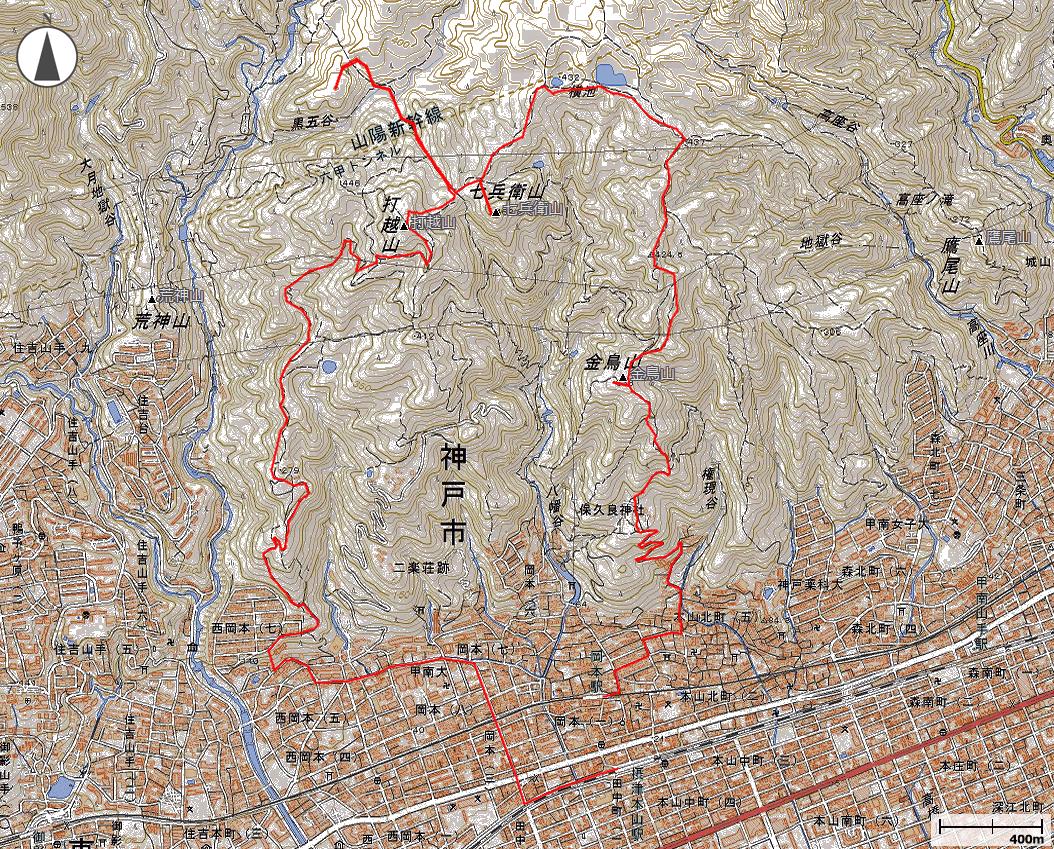 金鳥山~七兵衛山・周回地図地図