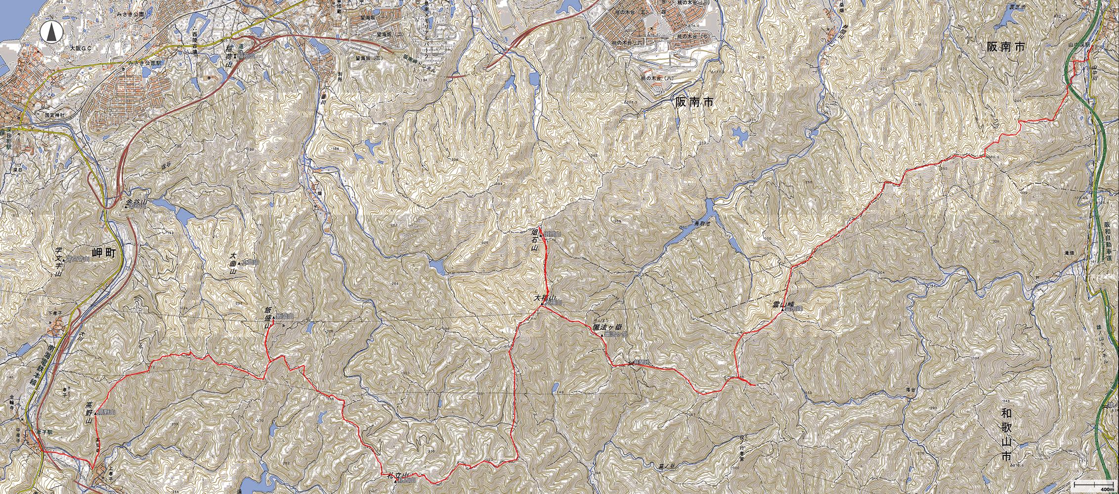 紀泉アルプス縦走地図