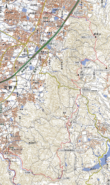 くろんど園地~交野山~国見山地図