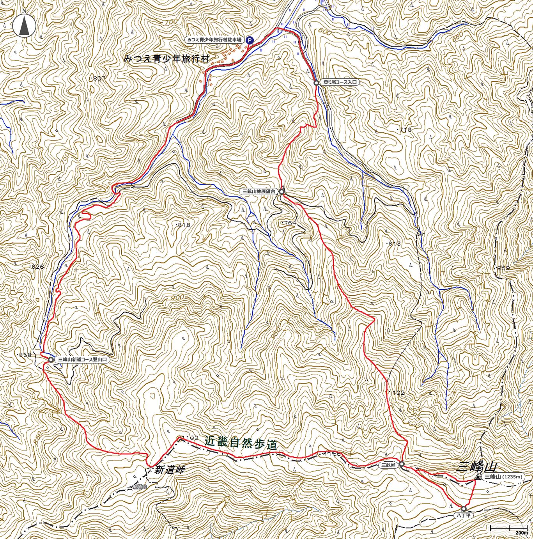 三峰山地図