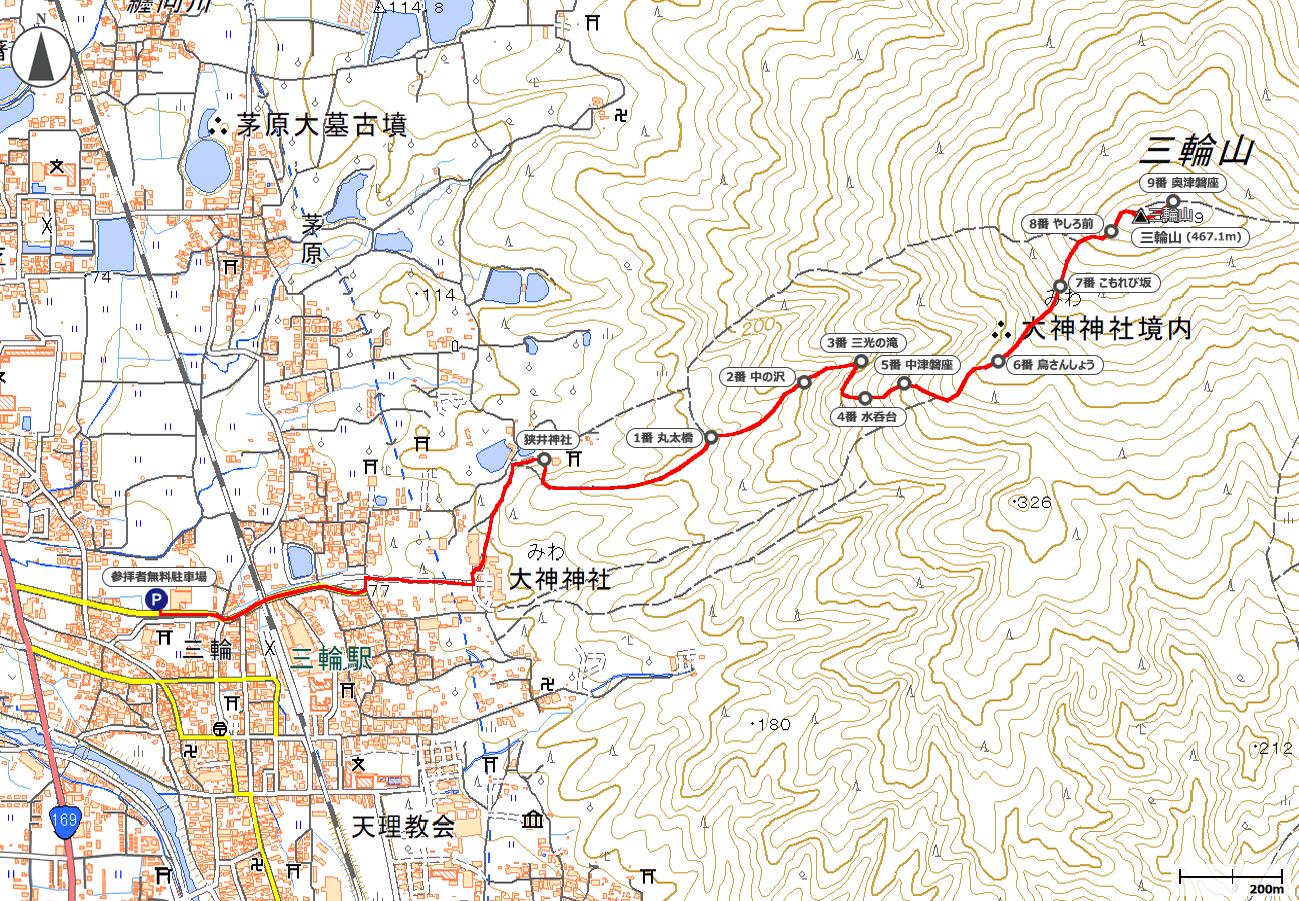 三輪山地図