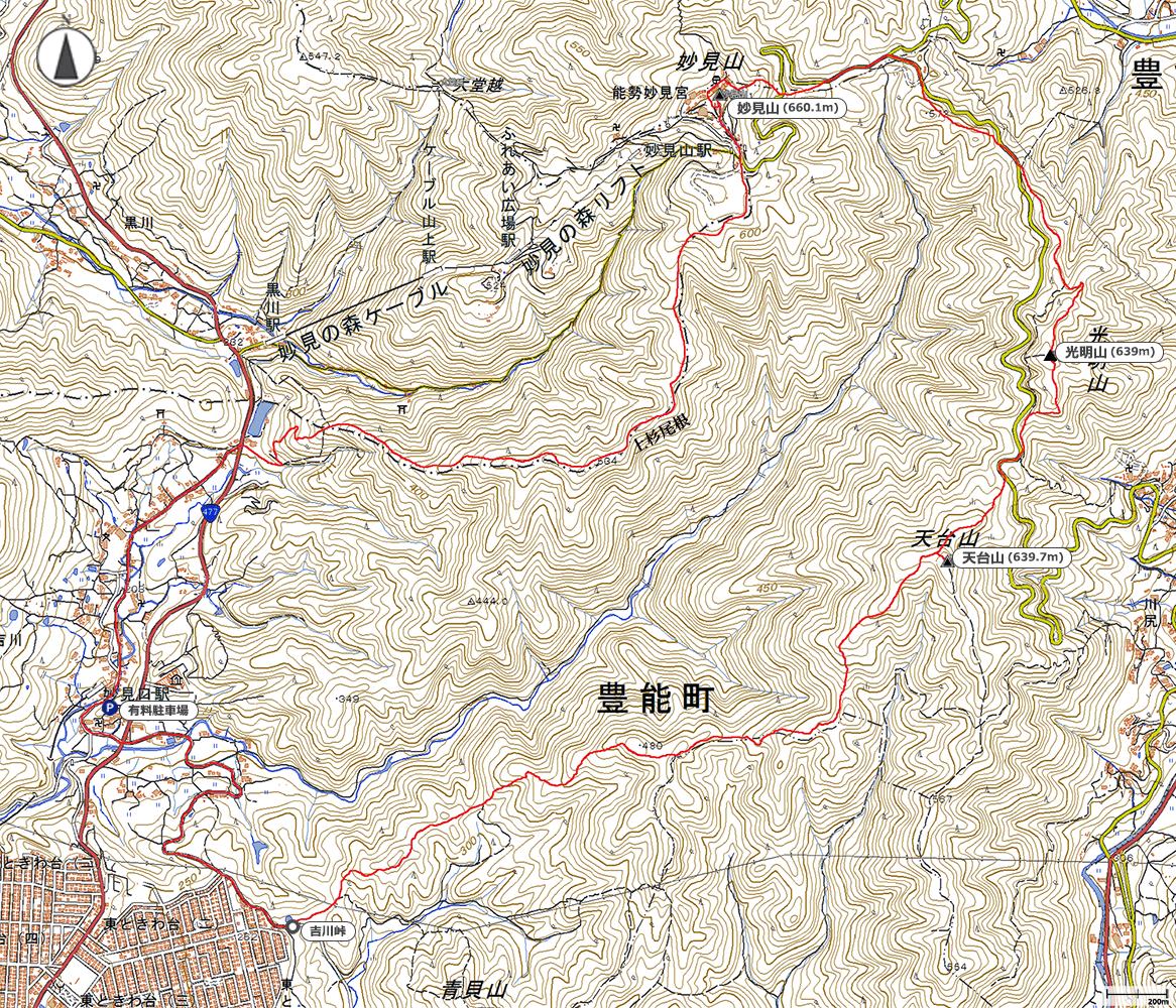 天台山~妙見山地図