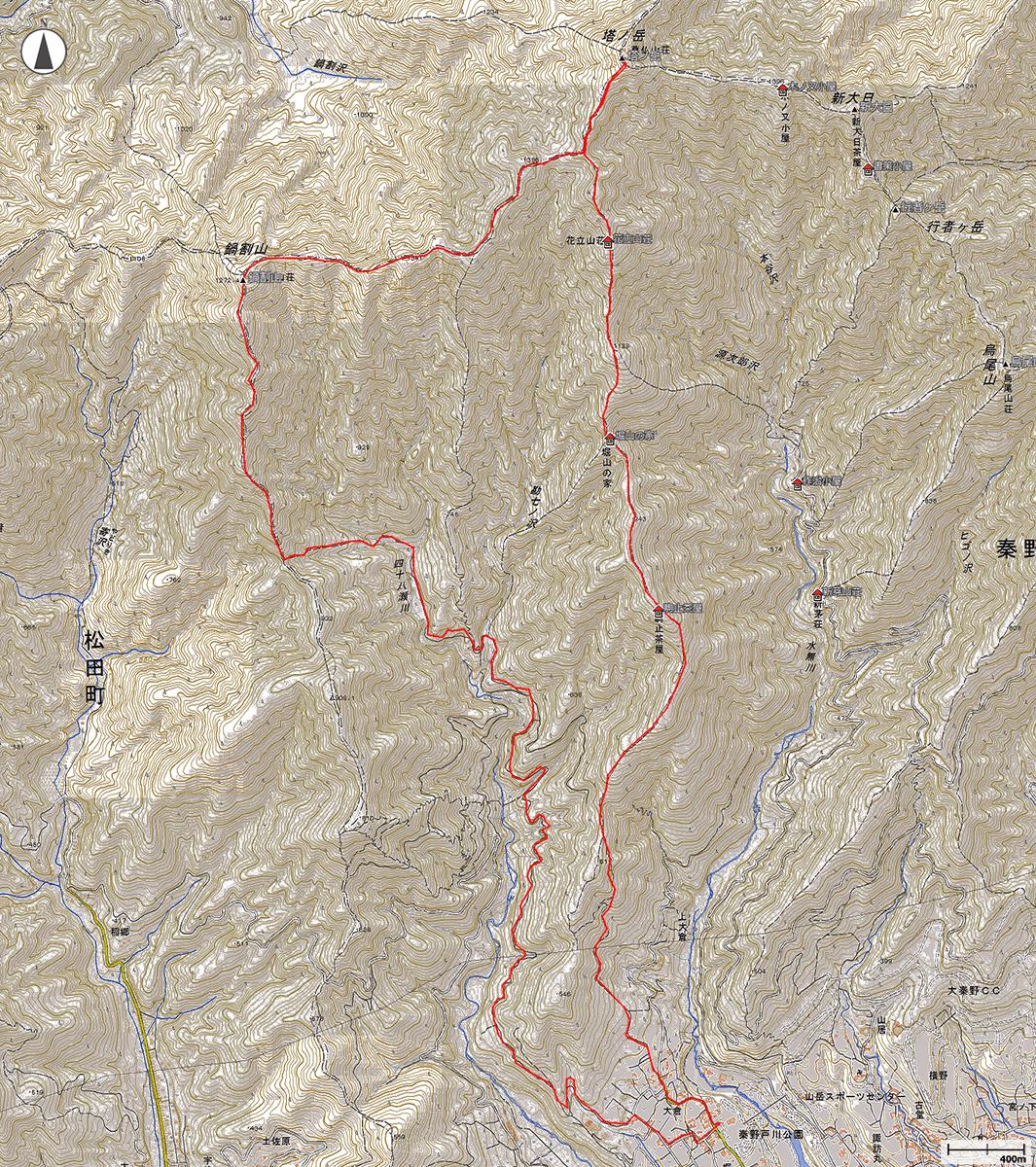 鍋割山・塔ノ岳地図