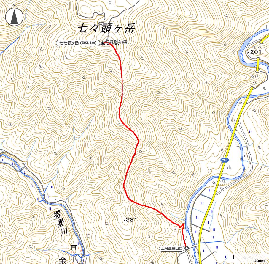七七頭ヶ岳地図