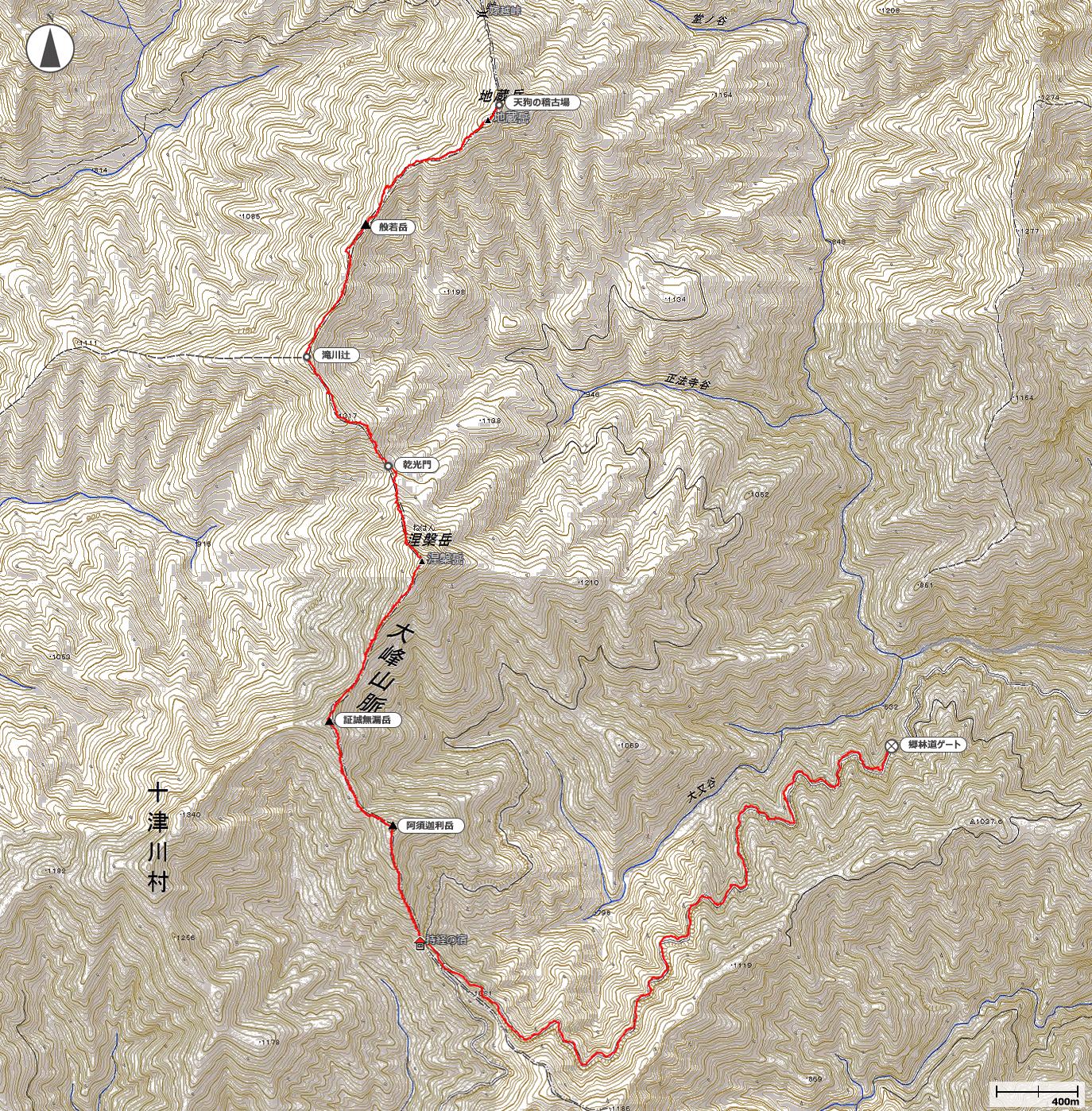 涅槃岳~地蔵岳地図