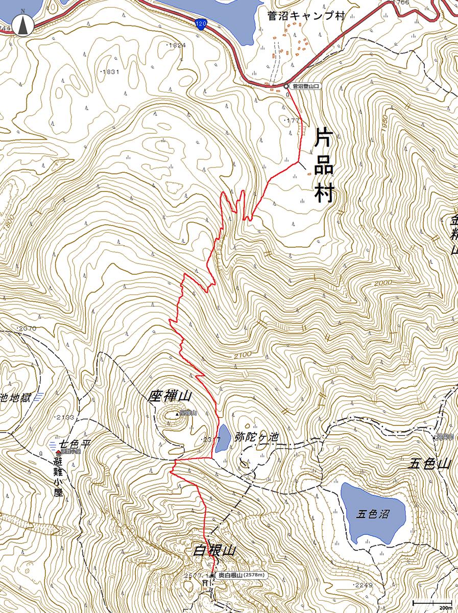 日光白根山地図