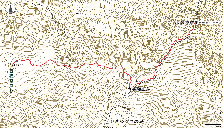西穂独標地図
