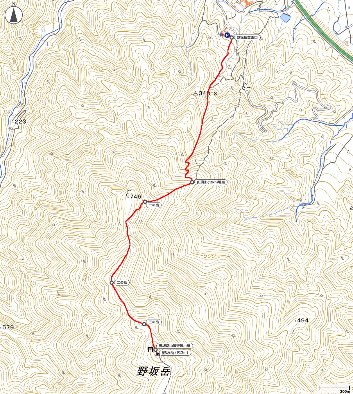 野坂岳地図