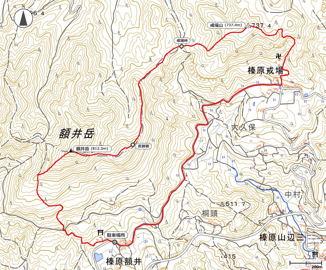 額井岳・戒場山地図