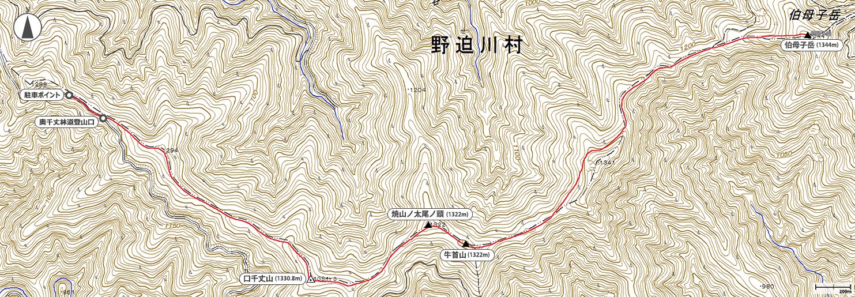 伯母子岳地図