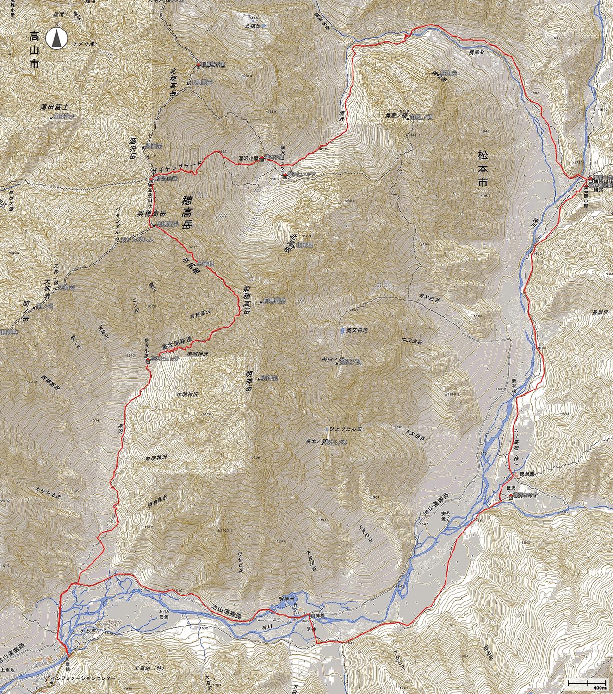 奥穂高岳地図