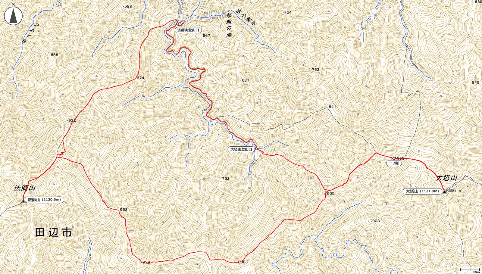 大塔山・法師山地図