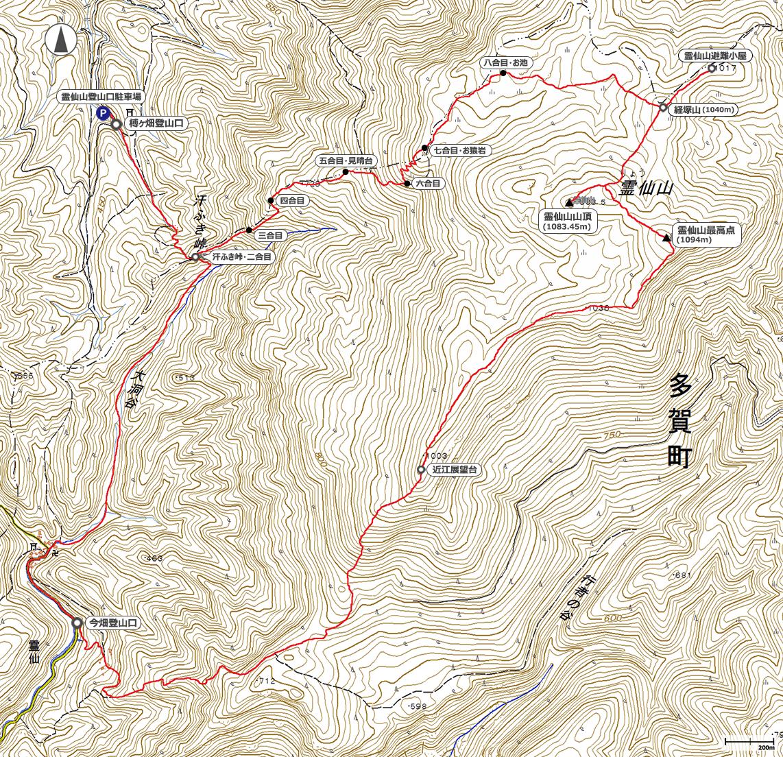 霊仙山地図