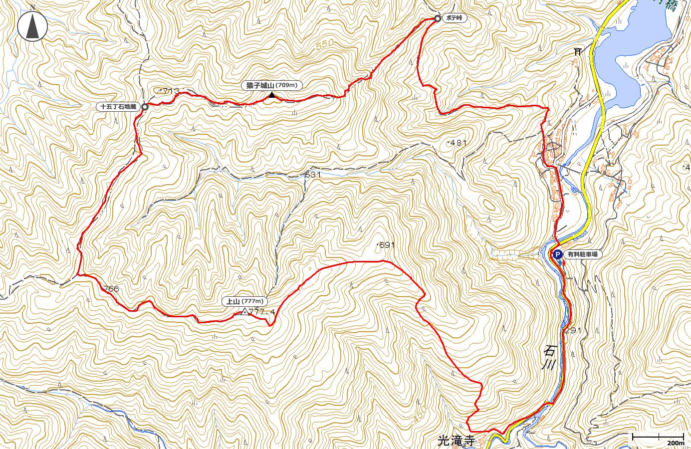 猿子城山・上山地図