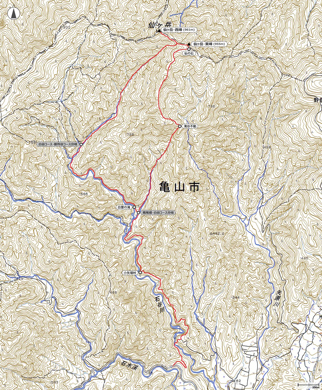 雪の仙ヶ岳地図
