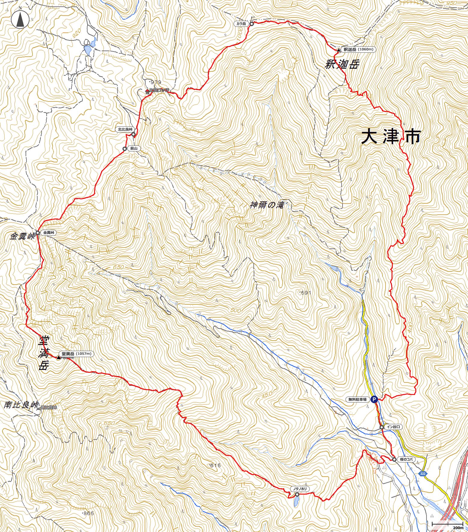 釈迦岳~堂満岳地図