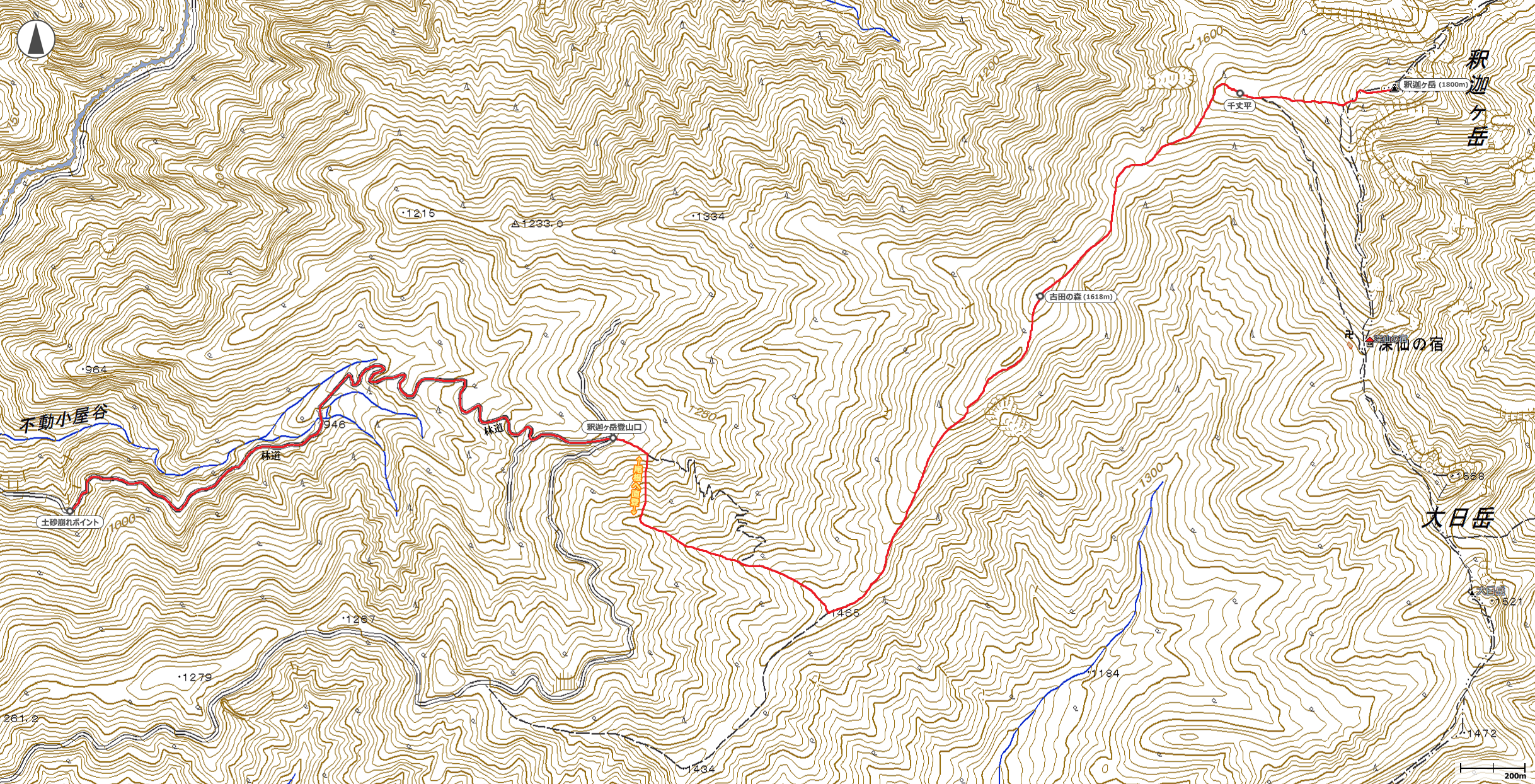 大峰・釈迦ヶ岳地図