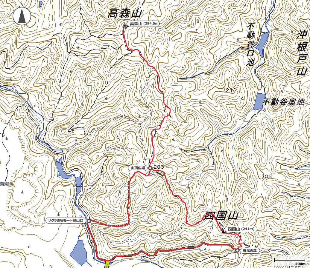四国山~高森山地図