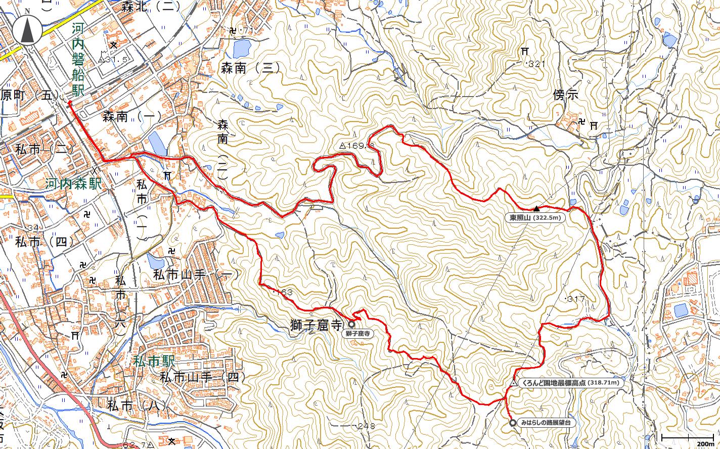 獅子窟寺~くろんど園地~東照山地図