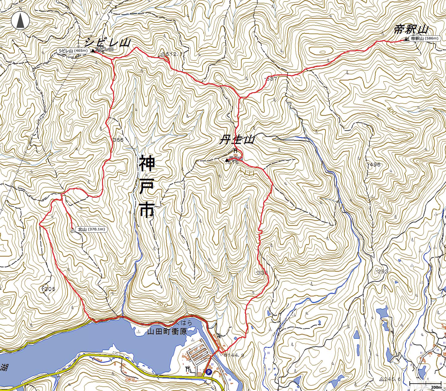 帝釈山地図