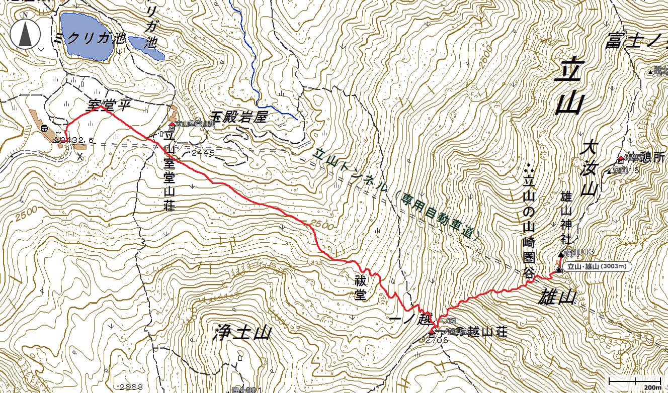 立山・雄山地図