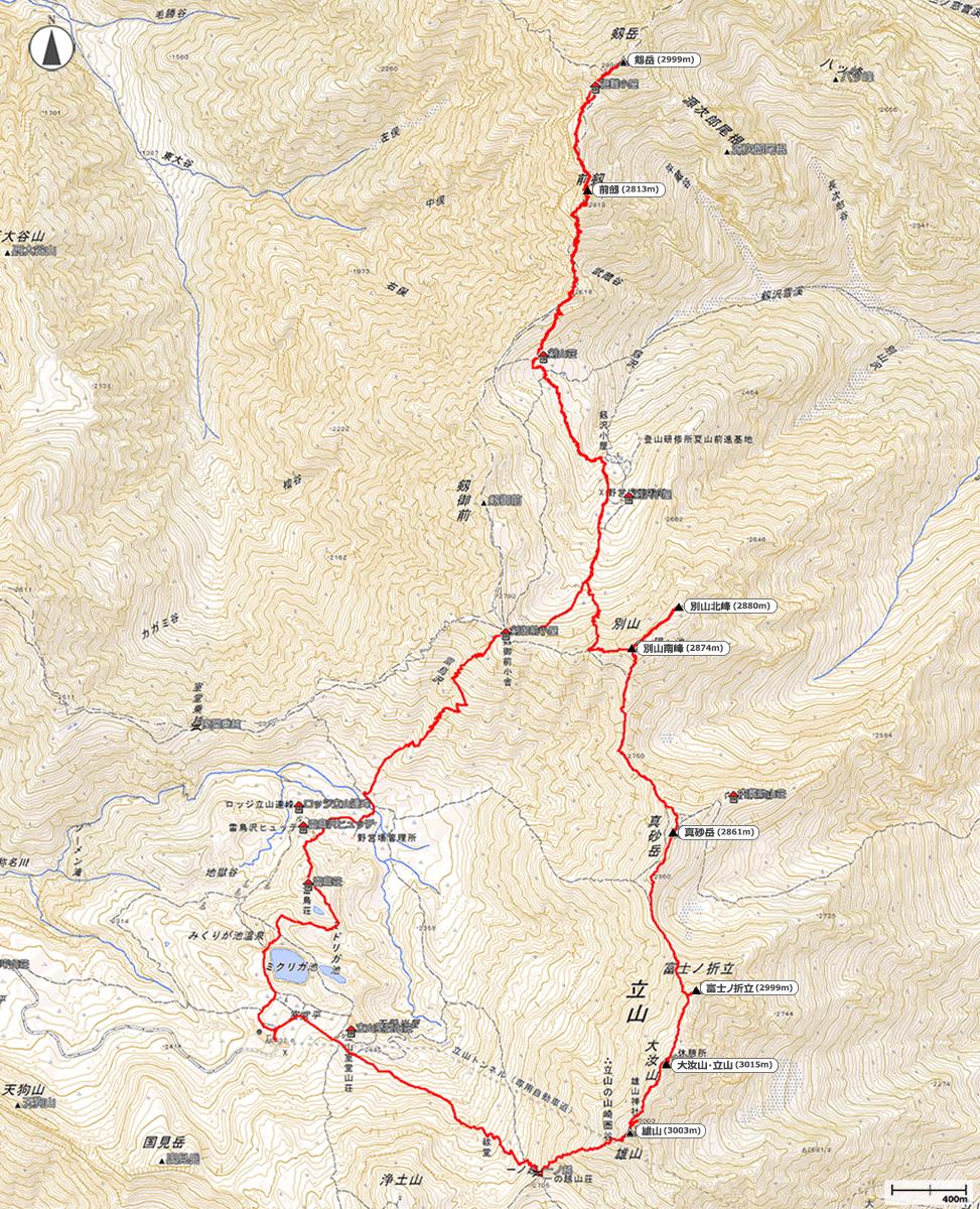 立山・剱岳地図