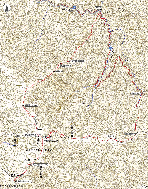 鉄山~八経ヶ岳~明星ヶ岳地図