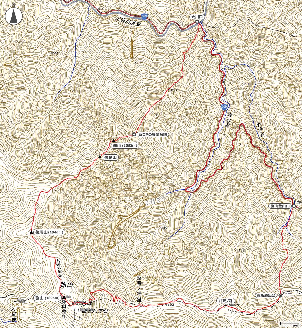 鉄山~弥山地図