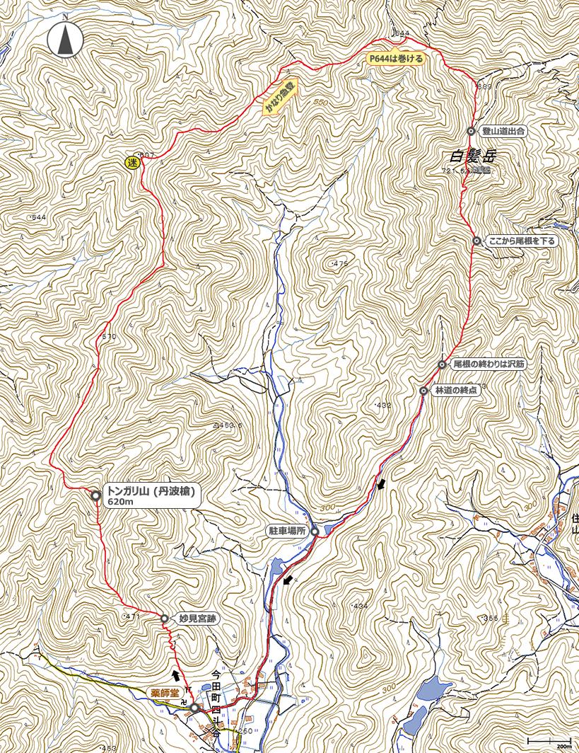 トンガリ山~白髪岳地図