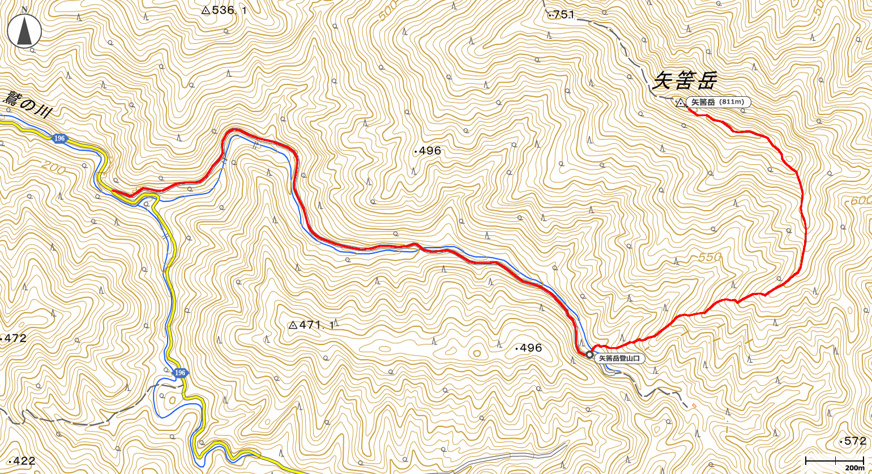 矢筈岳地図